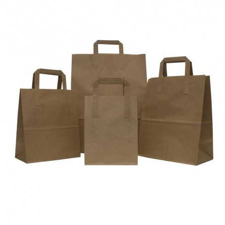 Paper Bags with Flat Handle - 250x300mm + 135mm